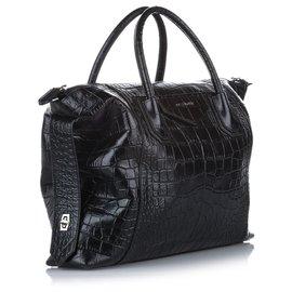 Givenchy-Givenchy Black Large Antigona Croc Embossed Leather Satchel-Black