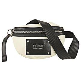 Givenchy-Givenchy White Tag Leather Belt Bag-Black,White,Cream