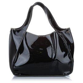 Stella Mc Cartney-Stella McCartney Black Perforated Logo Satchel-Black