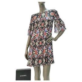 Chanel-Chanel Multicoloured Dubai Silk Dress Sz 38-Multiple colors
