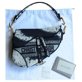 Christian Dior-Sac Dior Saddle Medium Tie Dye-Blanc,Bleu foncé,Bijouterie dorée