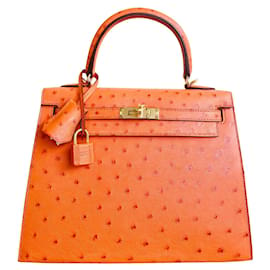 Hermès-KELLY II Mandarine Strauß Orange-Orange