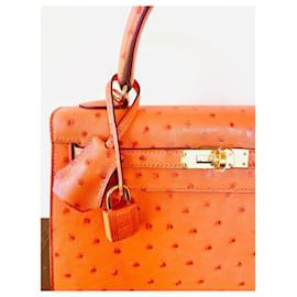 Hermès-KELLY II tangerine orange ostrich-Orange