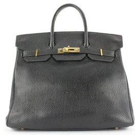 Hermès-Black Leather Birkin Haut a Courroies 32 Hac Bag-Other