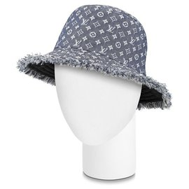 Louis Vuitton-Reversible Monogram Denim Bobbygram Bucket Hat Fisherman Cap 8601469S-Other