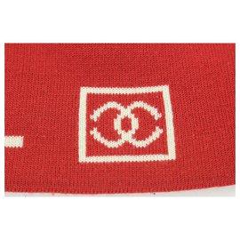 Chanel-Red Wool CC Logo Sports Beanie Cap Hat Ski-Other