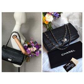 Chanel-Collector's Jumbo 2.55 Dbl Flap Bag-Black