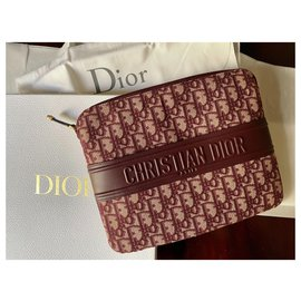 Dior-Dior pouch in jacquard canvas and leather-Beige,Dark red
