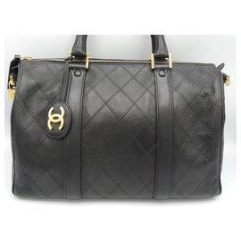 Chanel-CHANEL BOSTON bag 35 CMS BLACK-Black,Golden