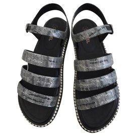 Chanel-Sandals-Grey
