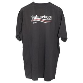 Balenciaga-Black Balenciaga 2017 Logo Printed Oversized T-Shirt-Black