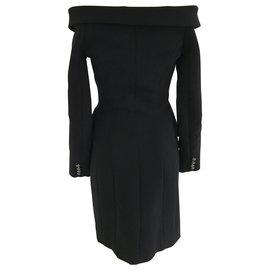 Faith Connexion-Black lined Breasted Suit Dress-Black