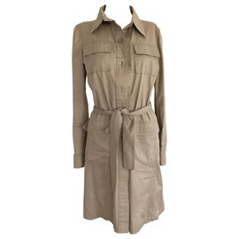 Miu Miu-Brown Long Sleeve Safari Dress-Brown,Beige