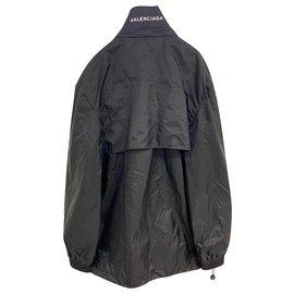 Balenciaga-Black Balenciaga Zip Up Windbreaker Jacket-Black