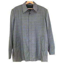 Balenciaga-Grey Plaid Long Sleeve Shirt-Grey