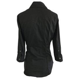 Burberry-Black Long Sleeve Cotton Shirt-Black