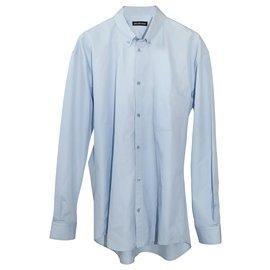 Balenciaga-Blue Balenciaga Logo Printed Long Sleeve Shirt-Blue,Light blue