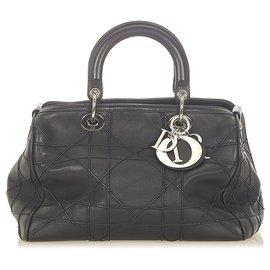 Dior-Dior Black Cannage Granville Leather Boston Bag-Black