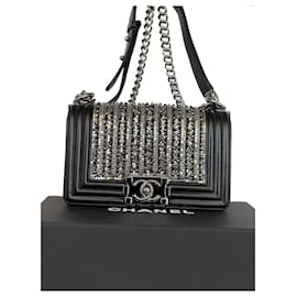 Chanel-Limited Edition Chanel small boy pearl and crystal embellished-Black