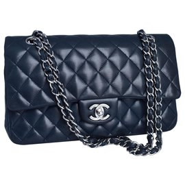 Chanel-Chanel Medium Dbl Flap Bag-Blue,Navy blue