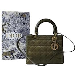 Christian Dior-Bolsa de Lona Cristã Dior Lady Dior Médio Khaki-Caqui