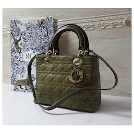 Christian Dior-Christian Dior Lady Dior Medium Khaki Canvas Bag-Khaki