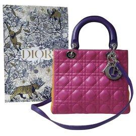 Christian Dior-Lady Dior Medium Cannage Lambskin Tricolor-Multiple colors