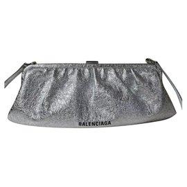 Balenciaga-BALENCIAGA Cloud crackled metallic-leather cross-body bag-Silvery