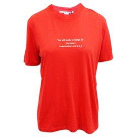 Stella Mc Cartney-Printed Cotton-Jersey T-shirt-Red