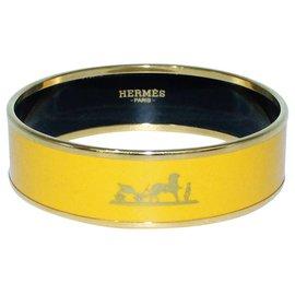 Hermès-Yellow Enamel Calèche Bangle Bracelet-Yellow