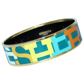 "Hermès-Colorful ""Hermes"" Logo Enamel Wide Bangle-Multiple colors"