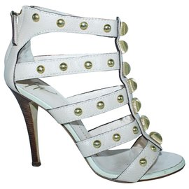 Giuseppe Zanotti-Beige Leather Heels with Golden Studs-Other