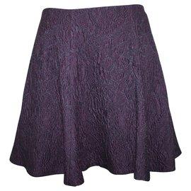 Alice + Olivia-Purple Pattern Flare Skirt-Purple