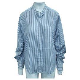 3.1 Phillip Lim-Blue Stripes Shirt-Blue