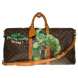 """Louis Vuitton-Beautiful Louis Vuitton Keepall travel bag 55 shoulder strap in monogram canvas and natural leather customized """"Hulk Vs Shining"""" by artist PatBo-Brown"""