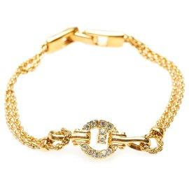 Givenchy-Givenchy Gold G Logo Rhinestone Bracelet-Golden