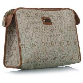 Dior-Dior Brown Honeycomb PVC Clutch Bag-Brown,Beige