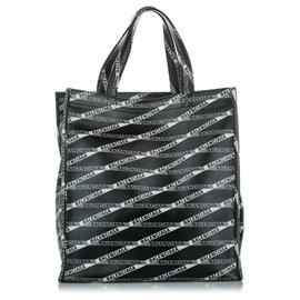 Balenciaga-Balenciaga Black Logomania Leather Tote Bag-Black,White