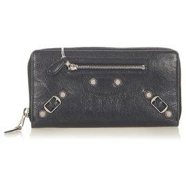 Balenciaga-Balenciaga Black Leather Zip Around Wallet-Black