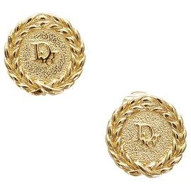 Dior-Boucles D'oreilles Clips Logo Or Dior-Doré