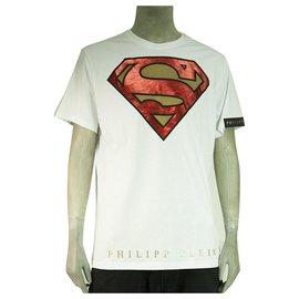 Philipp Plein-Philipp Plein & DC Comics White Superman Short Sleeve T-Shirt Top - Size 3XL-White