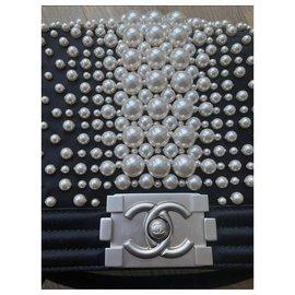 Chanel-Chanel Medium Boy Bag with Pearls  - Limited Edition-Black
