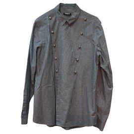 Balmain-Balmain lined-breasted shirt-Grey
