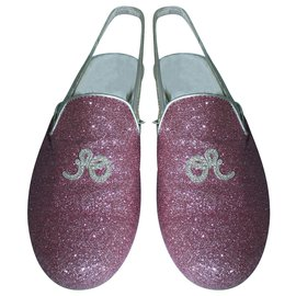 Dior-Chaussures à brides pailletées roses-Rose