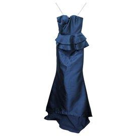 Badgley Mischka-Navy Strapless Dress-Blue,Navy blue