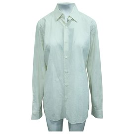 Prada-Ivory Striped Shirt-White,Cream