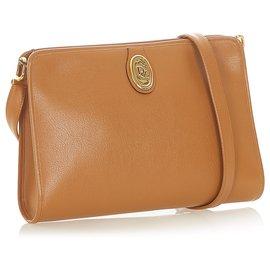 Dior-Dior Brown Leather Crossbody Bag-Brown