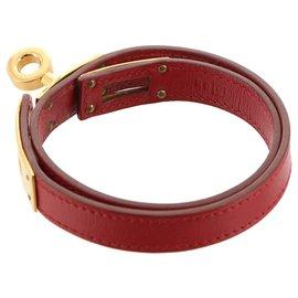 Hermès-Hermes Red Swift Kelly Bracelet-Red,Golden