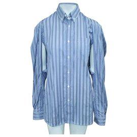 Balenciaga-Blue Striped Shirt with Underarm Cutouts-Blue