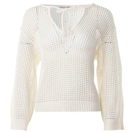 Dior-Pull maille-Blanc